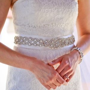 Accessories - Pearl Spark Elegant Rhinestone Sash Belt, 2 Colors